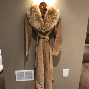 Jackets & Blazers - Vintage suede with real fur collar